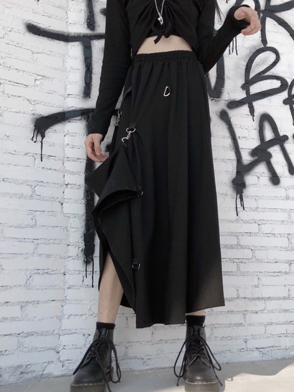 Black Style Personal Elastic Waist  Skirt with Iron Ring