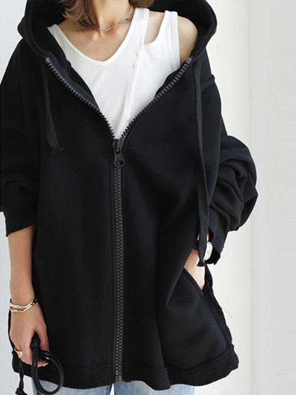 High Quality Mid-Length Zipper Up Hooded Loose Hoodie