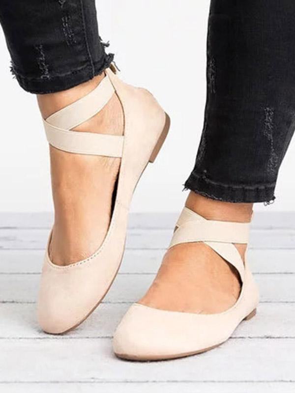 Round-head Elastic Band Flat-soled Plus Size Dance Shoes