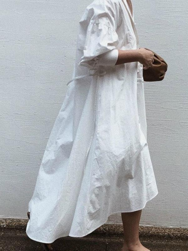 Korean Style Loose Long Sleeves Long Women's Maxi dress