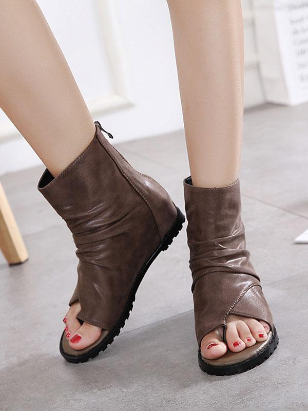 Casual Pure Color Fishbill Wedge Sandals