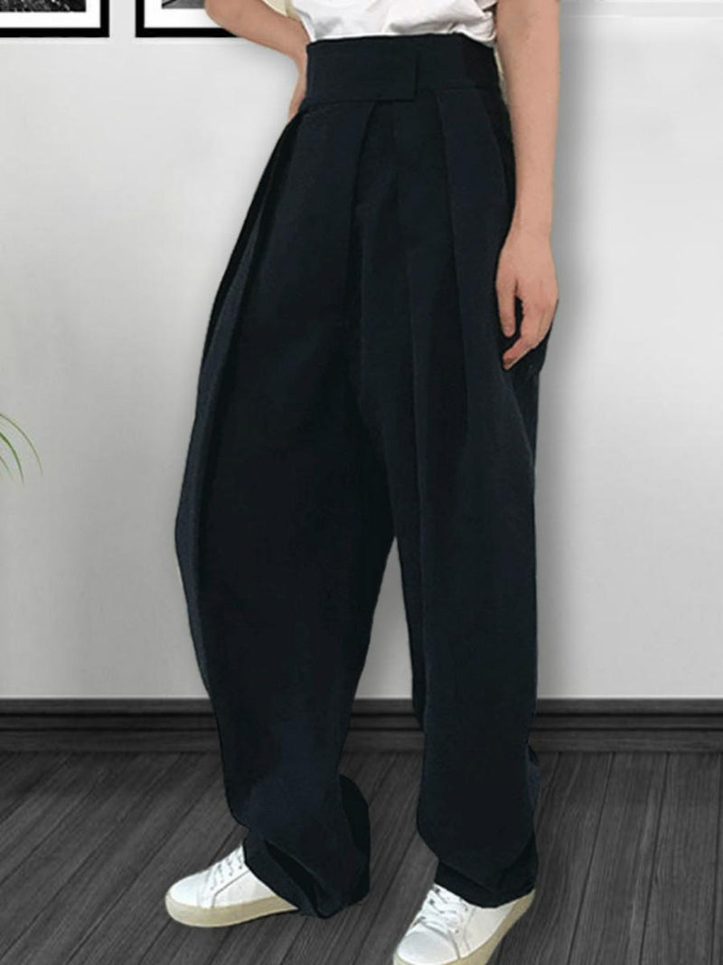 2 Colors High Waist Casual Wid Leg Pants