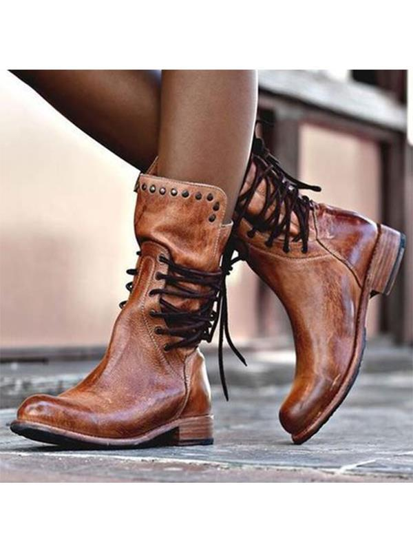 Casual Low Heel Round Toe Women Lace Up Boots