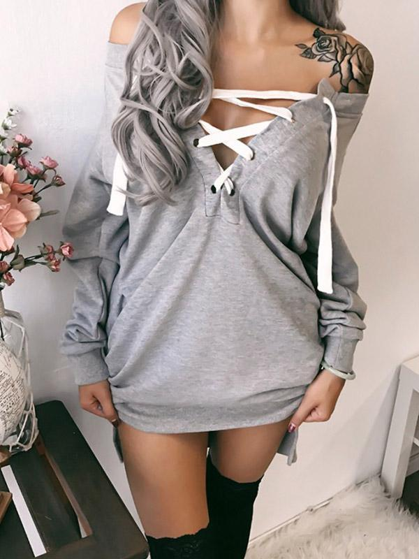 Long Sleeves Solid Color Bandage Blouses&shirts Tops