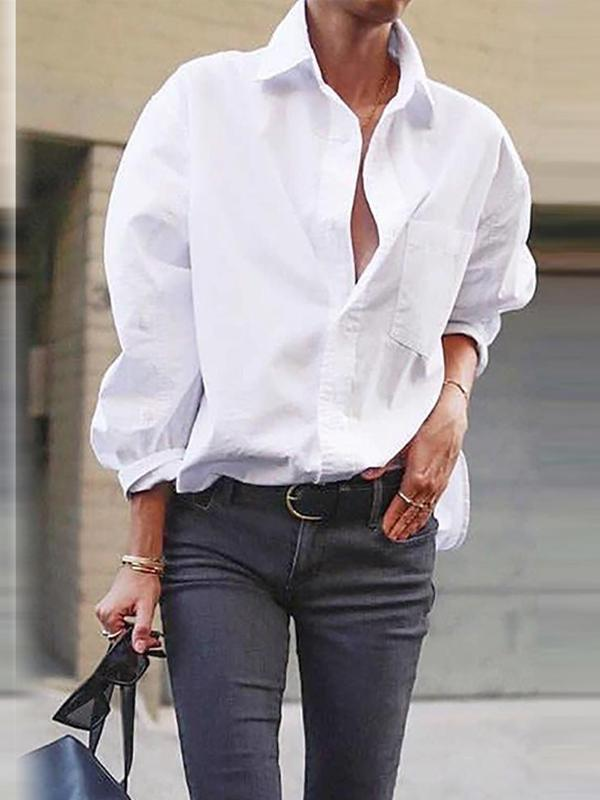 White Blouse Women Chiffon Office Career Blouse