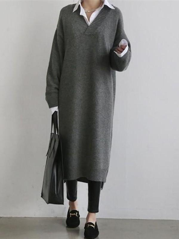 Loose V-Neck Long Sleeves Knitted Sweater Maxi Dress