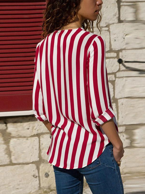 Striped V-neck Loose Blouses&shirts Tops