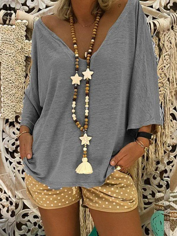 V-neck 3/4 Sleeves Loose Blouses&shirts Tops