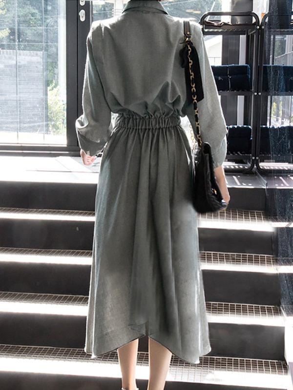 Solid Loose Belt Lapel Shirt Dress