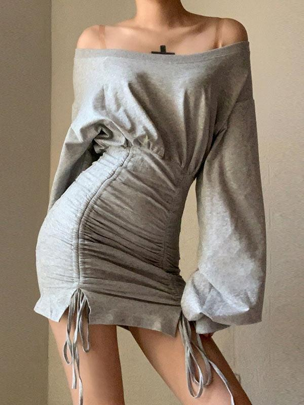 One Shoulder Drawstring Strap Hip Skirt