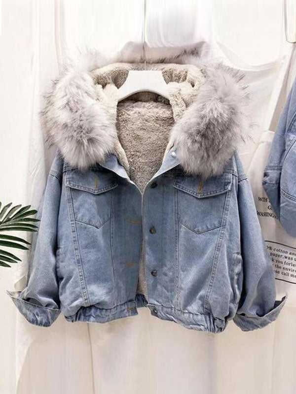 Loose Thickening Velveting Lamb Wool Hooded Cotton Jeans Coat