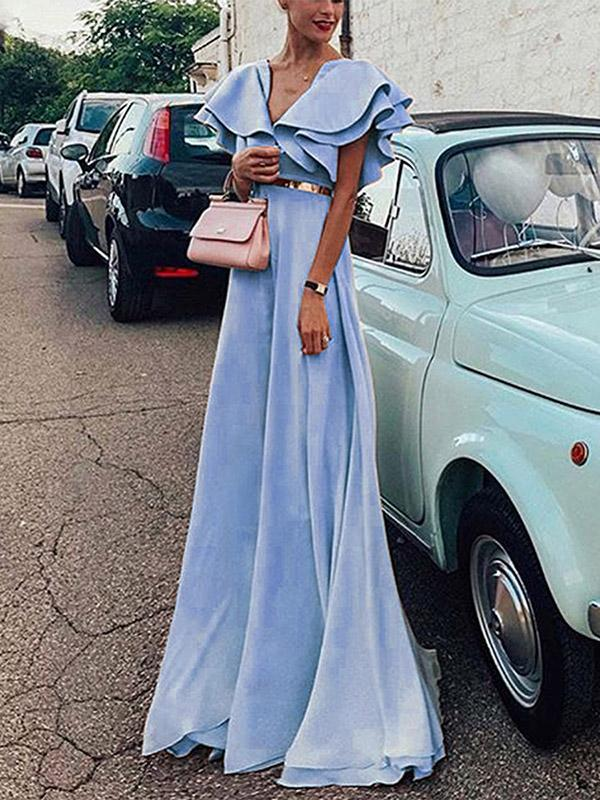 Bohemia Sleeveless Solid Color Maxi Dress