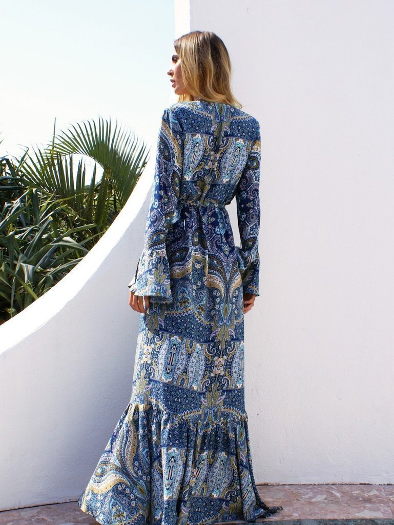 Chiffon Bohemia Floral Front Split with Tie Long Sleeve Maxi Dress