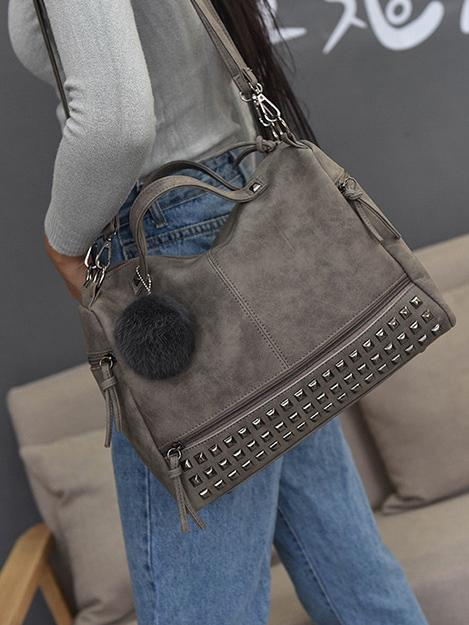 Pompom Decorated Zipper Single-shoulder Tote Bag