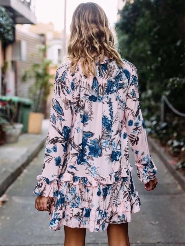 Pretty Printed Long Sleeves Bohemia Mini Dress