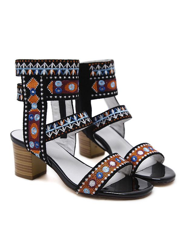 National Bohemia Embroidered Chunky Heels Sandals