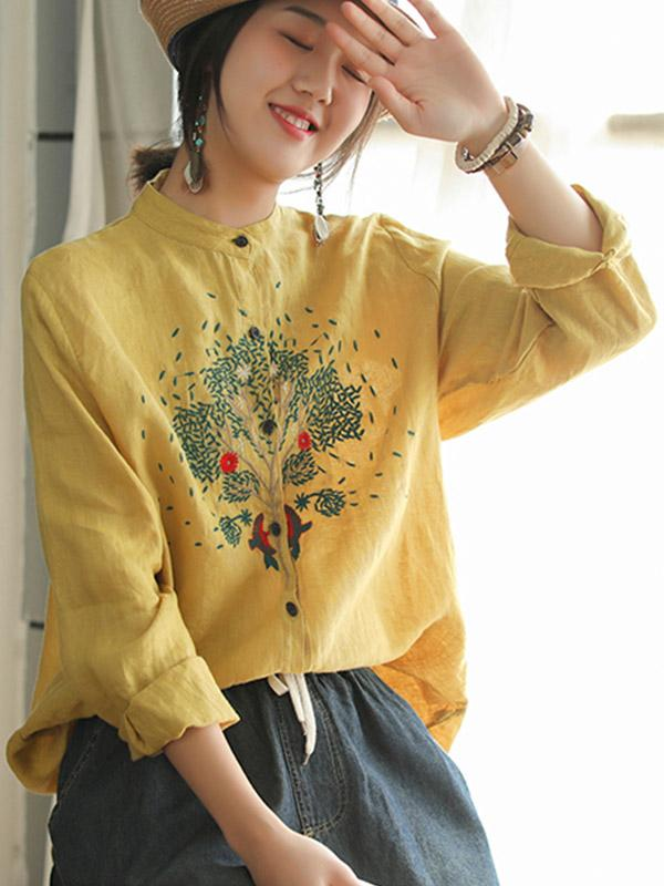 Artistic Linen Tree Embroidered Shirt