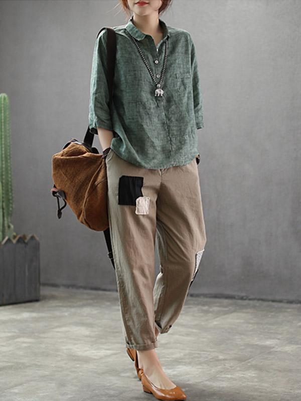 Loose Vintage Casual Solit-joint Linen Shirt