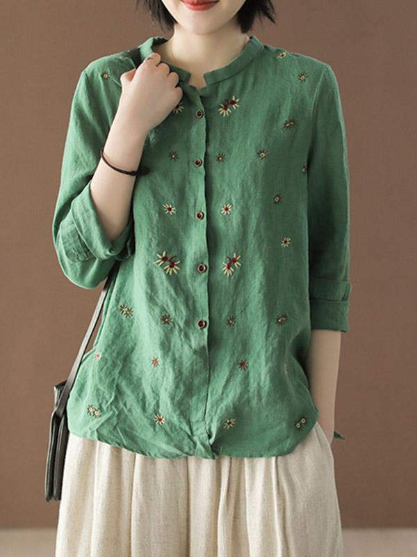 Artistic Linen Embroidered Long Sleeves Shirt
