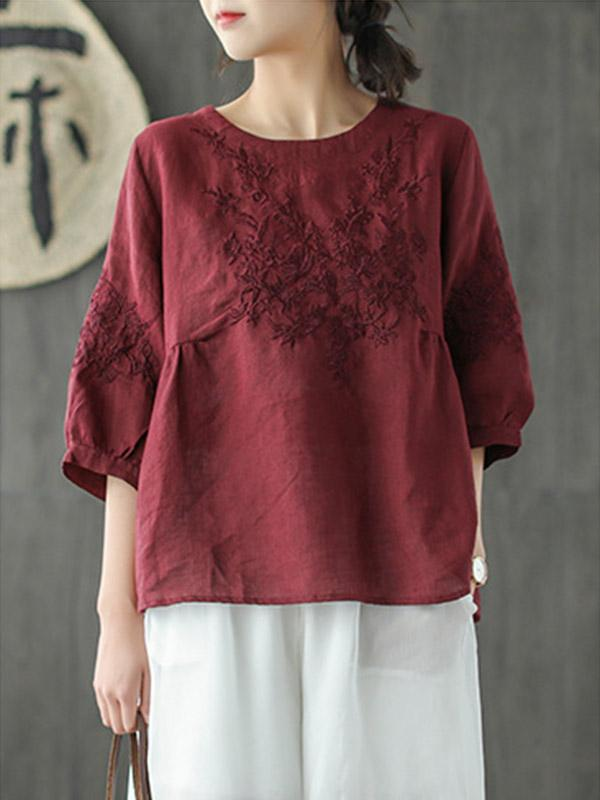 Loose Artistic Retro Embroidered Linen T-shirt