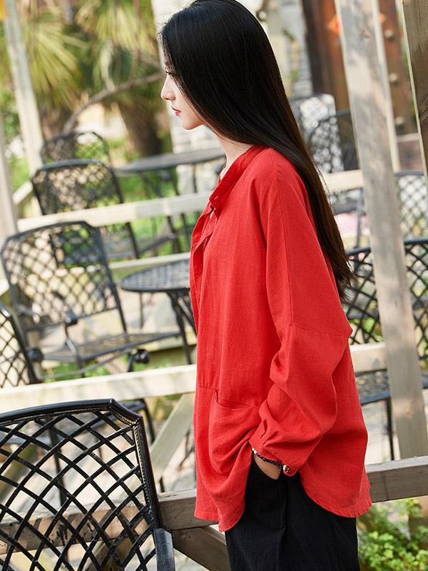 Soft Red Ramie Cotton Blouse Shirt
