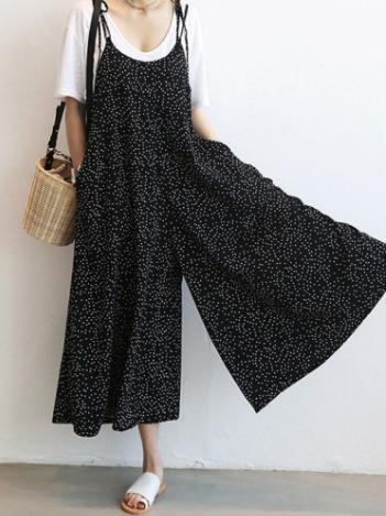 Loose Comfortable Little Dots Printed Jumpsuit