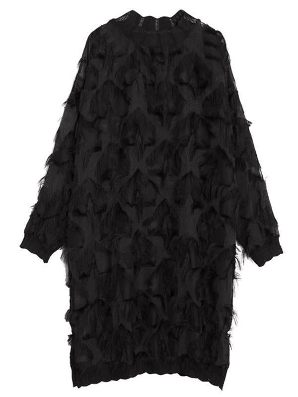 Plus Size Fuzzy Loose Midi Dresses