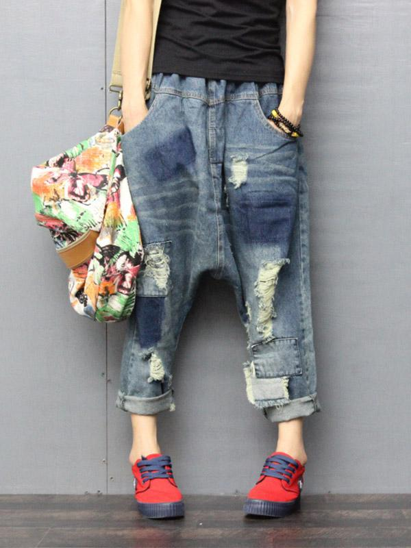 Plus Size Loose Elastic Waist Casual Jeans Pants