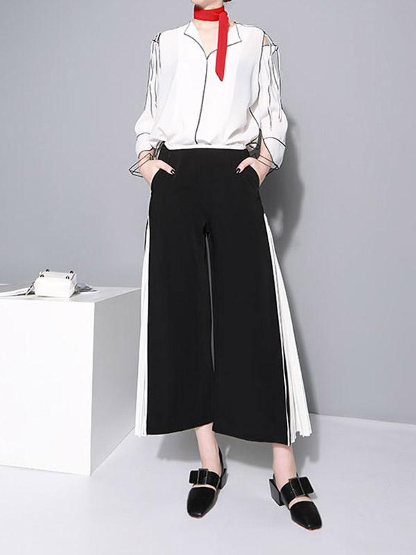 Special Split-joint Wrinkle Chiffon Dress Pants