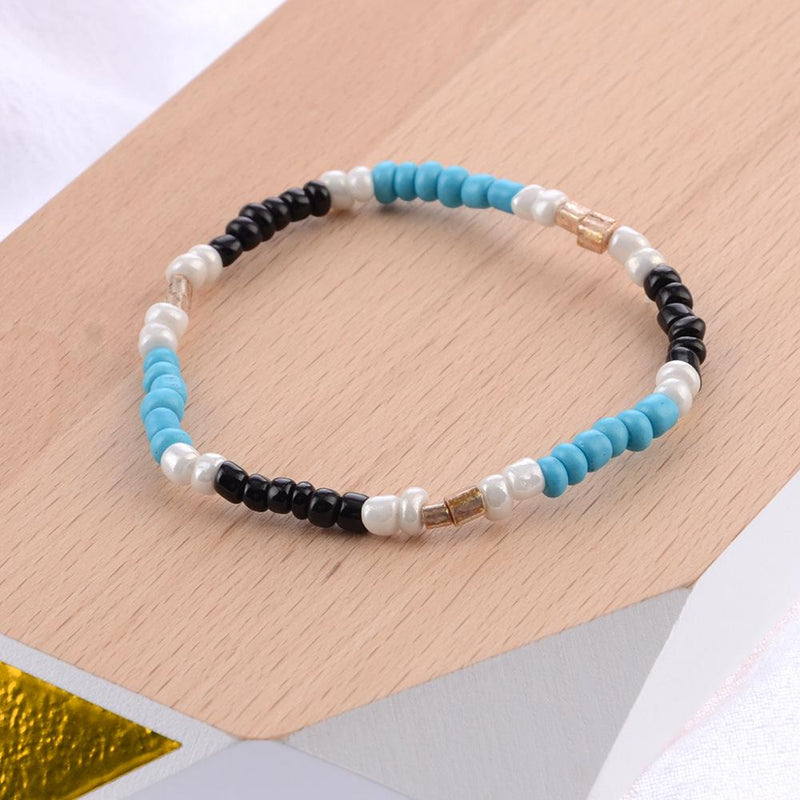 4 Pieces Handmade Knitting Blue-White Bracelet Accessories
