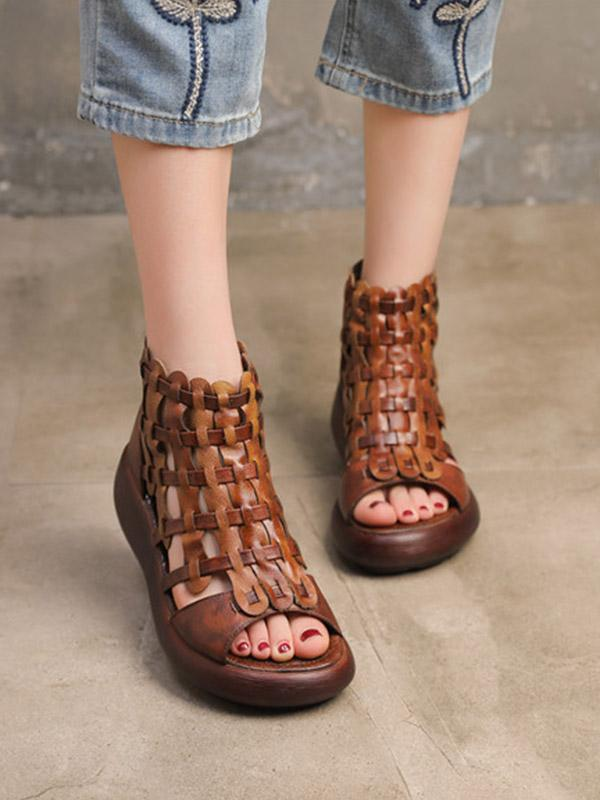 Vintage Handmade Knitting Hollow Chunky Sandals