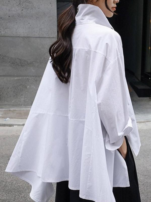 Plus Size Loose Irregular Long Sleeves Shirt