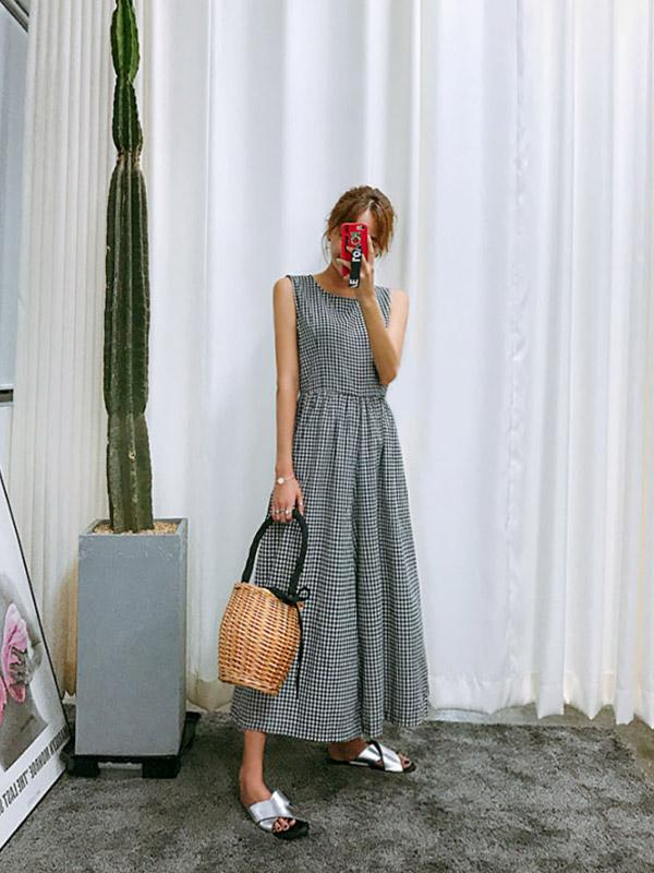 Casual Sleeveless Plaid Wide-leg Jumpsuits