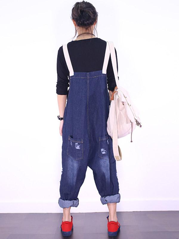 Loose Personal Jeans Sling Jumpsuits