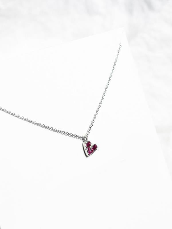 Necklace with Silver Rose Red Casual Sweet Heart