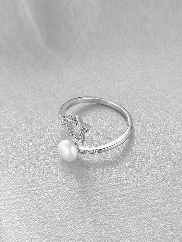 Pearl Ring with S925 Silver Adjustable Fashion Star
