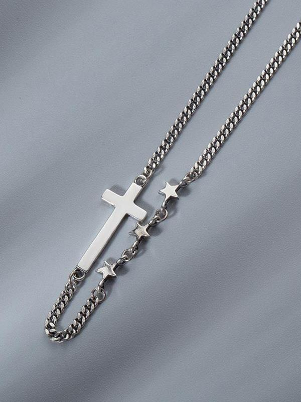 925 Sterling Silver Cross Star Necklace