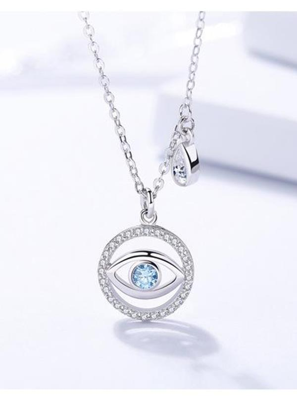 Blue Eye Round Inlaid Zircon Necklace