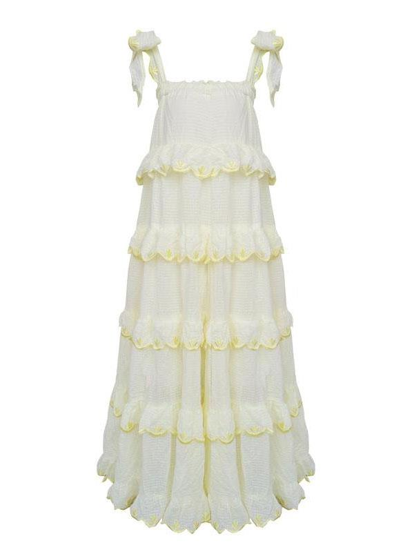Solid Color Lady Sling Cotton Fluffy Fairy Dress