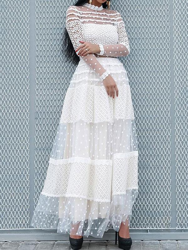 Maxi Dress with Lacy See Through Hollow