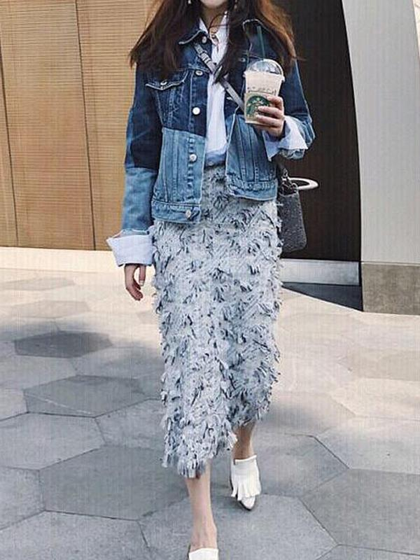 Colorblock Denim Jacket Tassel Skirt Irregular Shirt Three-piece Suit