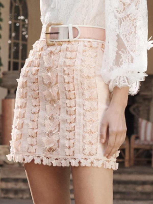 Lace Bowknot High-waist Solid Bodycon Skirts
