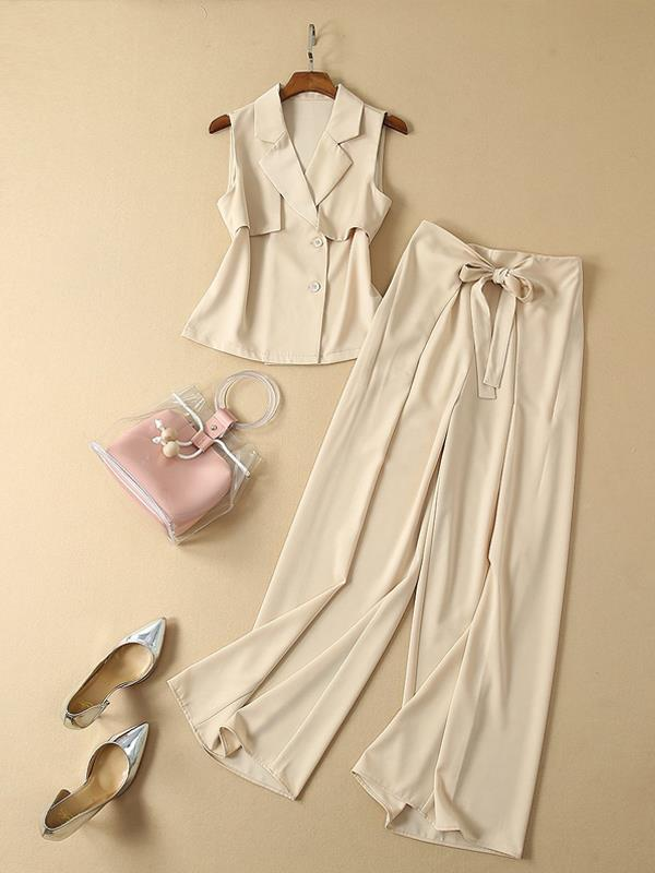 Lapel Sleeveless Tops + Bandage Wide-leg Suits