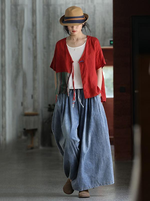 Loose Plus Size Casual Elastic Waist Wide-leg Jeans Pants