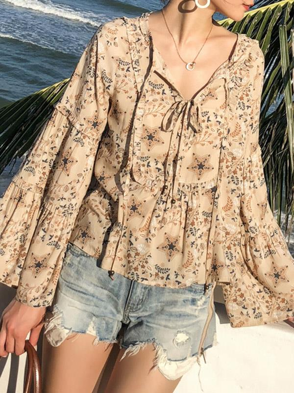 Loose Shivering Lace-up V-neck Sunscreen Vacation Tops