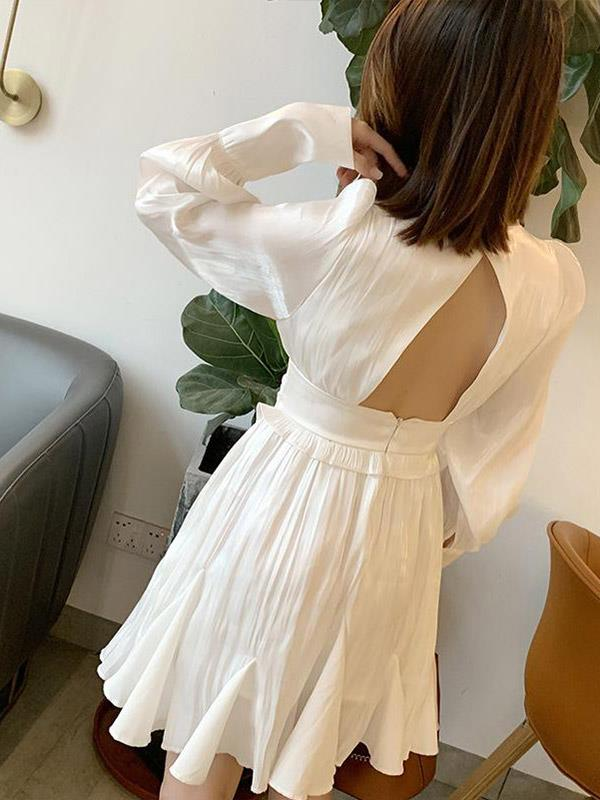 Maxi Dress with Sexy Backless  V-neck High Waist Long Sleeve A-Line