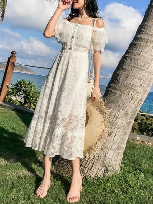 Off-the-shoulder Lace Sexy Vacation Beach Dress