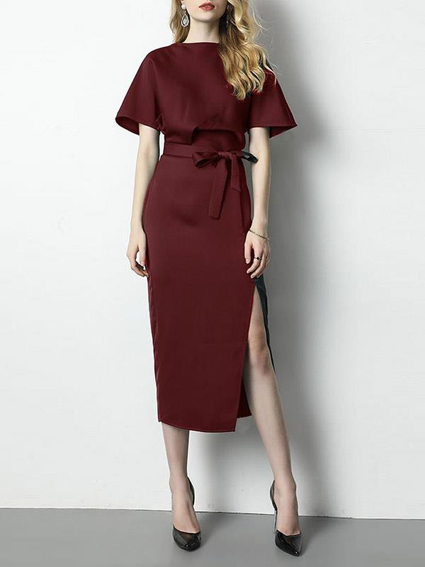 Split-side Fitted-waisted Round-neck Short Sleeves Dress