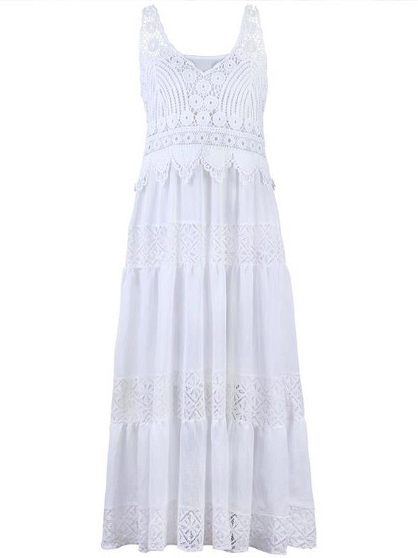 White Two Pieces Vacation Beach Sling Dress