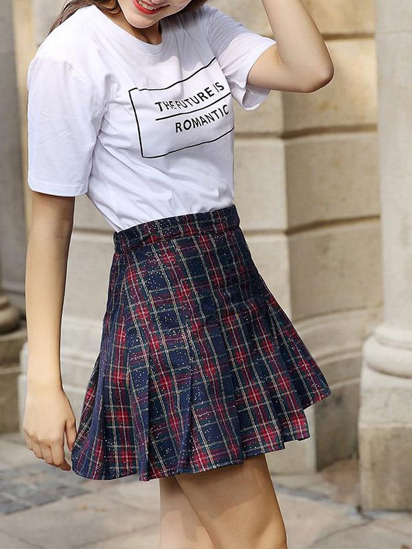 Slim Short Skirt with High Waisted Pressed Pleat
